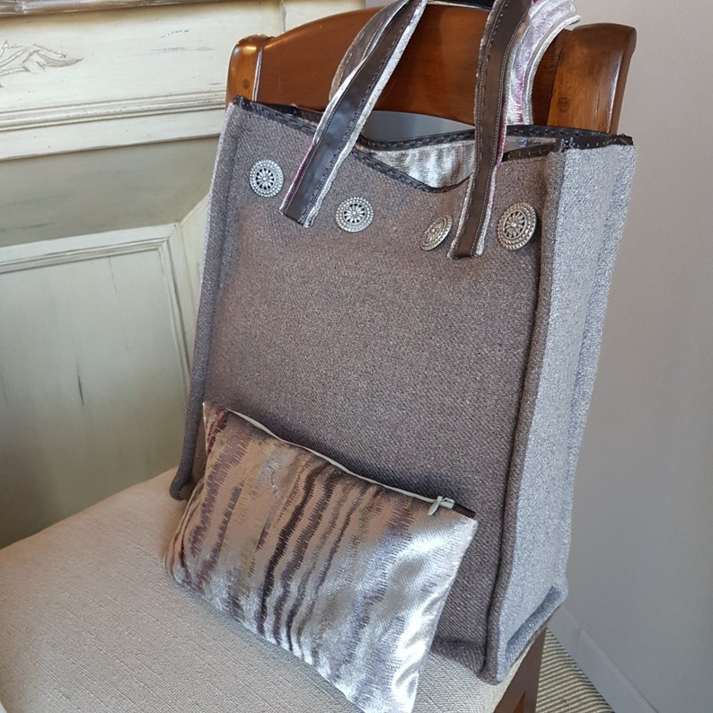Brown and grey wool tote bag  Handmade in Italy  Carmen RB image 0