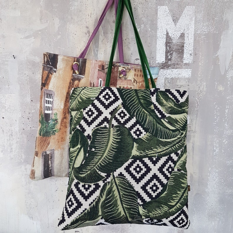 Tote bag in botanical green fabric dubbed bright green velvet image 0