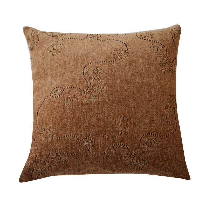 Hazelnut velvet cushion cover made with exclusive Italian image 0