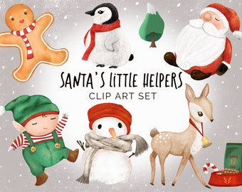 christmas clipart set santas little helpers santa reindeer elf snowman gingerbread man png transparent digital files