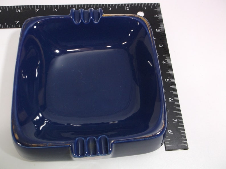 Tennents Lager Scotland Brewery Blue Ceramic Collectors Ashtray 6 No breaks chips or cracks inch Square Wade PDM England