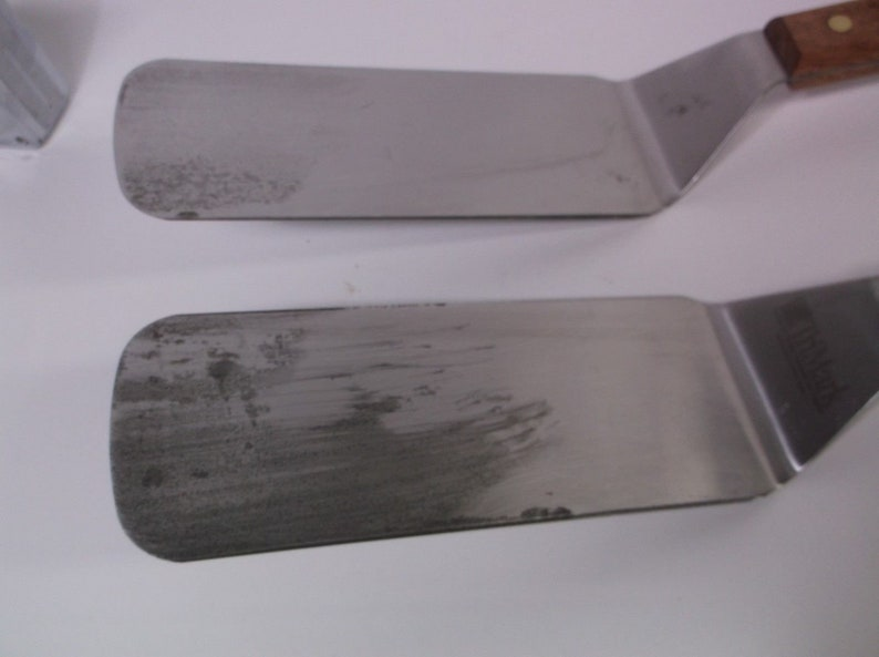 Dexter USA Extra Long Wood Handles High Carbon USA Factory Seconds Never used Scratched Tarnished Blade Charbroil BBQ Turners 2 Lot of