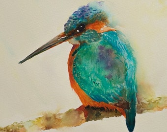 Kingfisher bird in turquoise blue and orange, from my original watercolour painting of this beautiful bird.  Giclee Print of this blue bird.