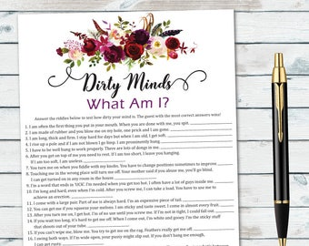 naughty bachelorette game unique shower game hens party game dirty minds what am i naughty bridal game funny bridal games wedding game