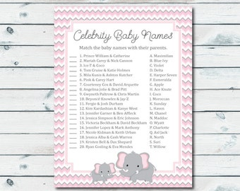 Baby Shower Celebrity Game, Pink And Gray Elephant Celebrity Baby Game, Celebrity Baby Name Game, Baby Shower Celeb Match Game, Elephant