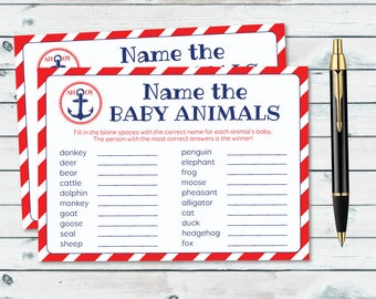 Nautical Baby Animal Name Game, Animal Match Game, Name The Baby Animals, Baby Shower Animal Quiz, Nautical Printable Games