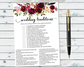 floral wedding traditions game floral bridal game why do we do that wedding traditions quiz guess the tradition wedding shower games