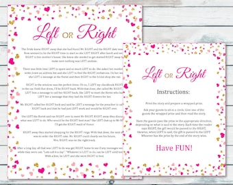 left or right bridal shower game pass the prize bridal game pink and gold confetti bachelorette game bridal shower prize pass the gift