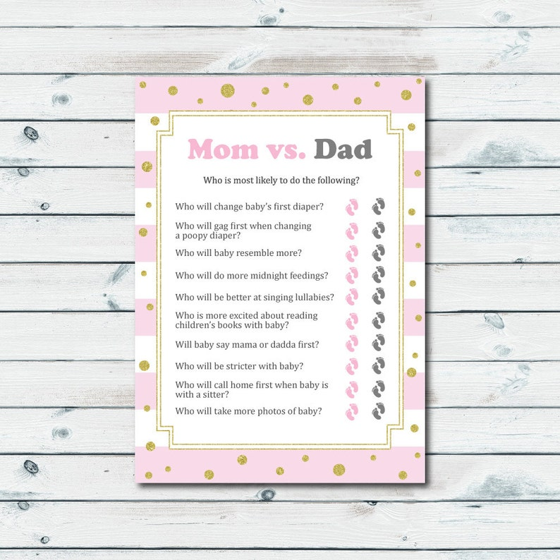 Mom Vs Dad Quiz Baby Shower Printable Game Pink And Gold Baby Etsy