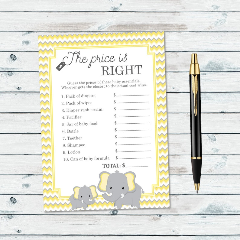 picture regarding Price is Right Baby Shower Game Printable called The Value Is Directly Little one Shower Video game Printable, Yellow Elephant Value Is Instantly, Boy or girl Expense Is Straight, Gender Impartial Little one Shower Video game