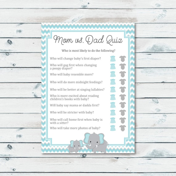 Mom Vs Dad Quiz Baby Shower Game Blue And Gray Elephant Baby Etsy
