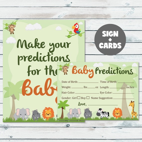 picture regarding Printable Jungle Animals titled Safari Little one Shower Prediction Playing cards Signal, Printable Jungle Pets Youngster Figures, Jungle Predictions For The Child Playing cards And Indication