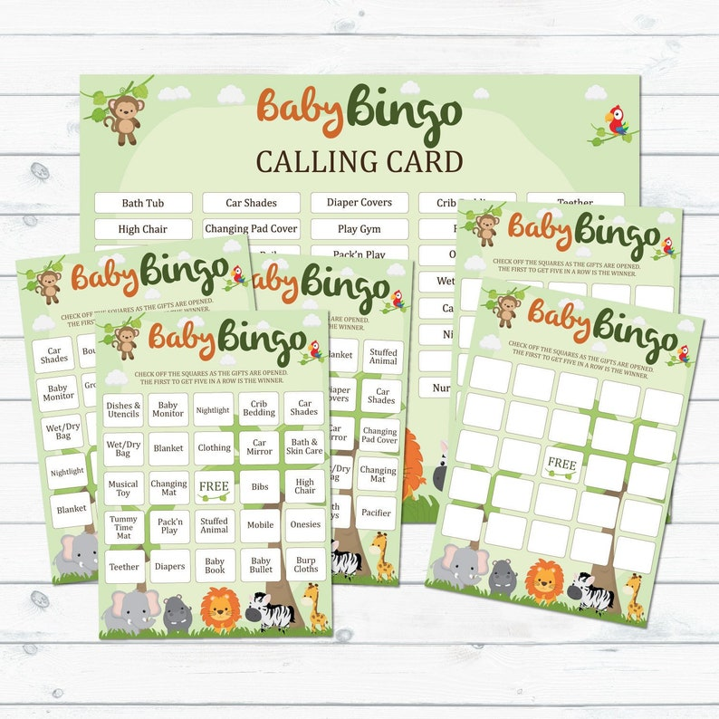picture about Printable Blank Cards named Safari Little one Shower Bingo Playing cards Printable, Blank And Prefilled Bingo Playing cards, Jungle Youngster Shower Bingo, Safari Boy or girl Shower, Little one Shower Bingo