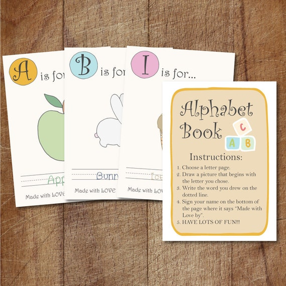 Alphabet Book Baby Shower Game Printable Babys First Etsy