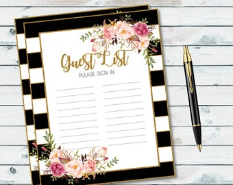printable guest list sign in sheet guestbook alternative