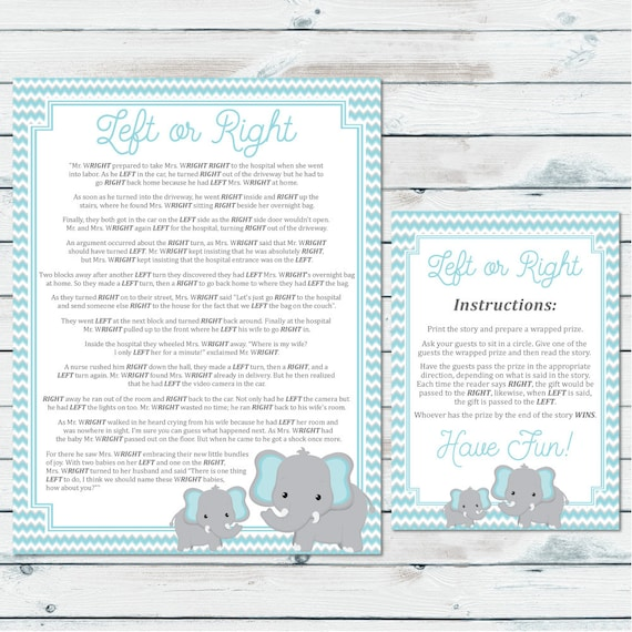 Left Or Right Baby Shower Game Pass The Prize Baby Game Blue Etsy