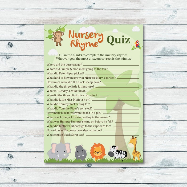 image regarding Printable Nursery Rhymes titled Nursery Rhyme Match Printable, End The Nursery Rhyme, Safari Rhyme Quiz, Youngster Shower Quiz, Nursery Rhymes Quiz, Jungle Pets Shower Quiz