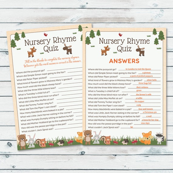 Woodland Nursery Rhyme Quiz Baby Shower Game Nursery Rhyme Etsy