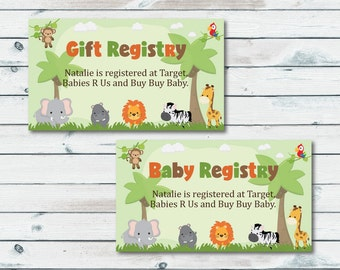 Baby Registry Cards, Registry Inserts, Safari Baby Shower Gift Registry Inserts, Baby Shower Invitation Inserts, Registry Cards Safari