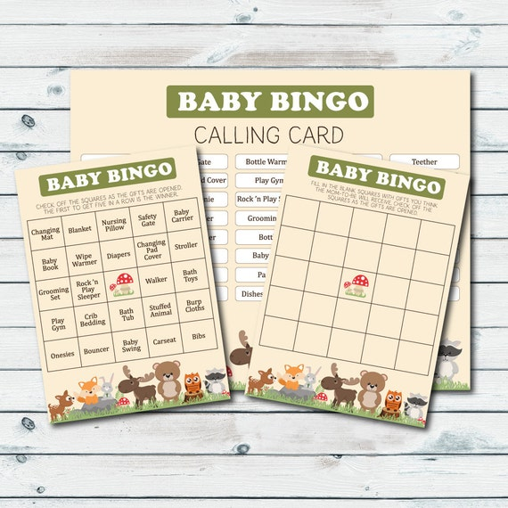 Woodland Baby Shower Bingo Cards Printable