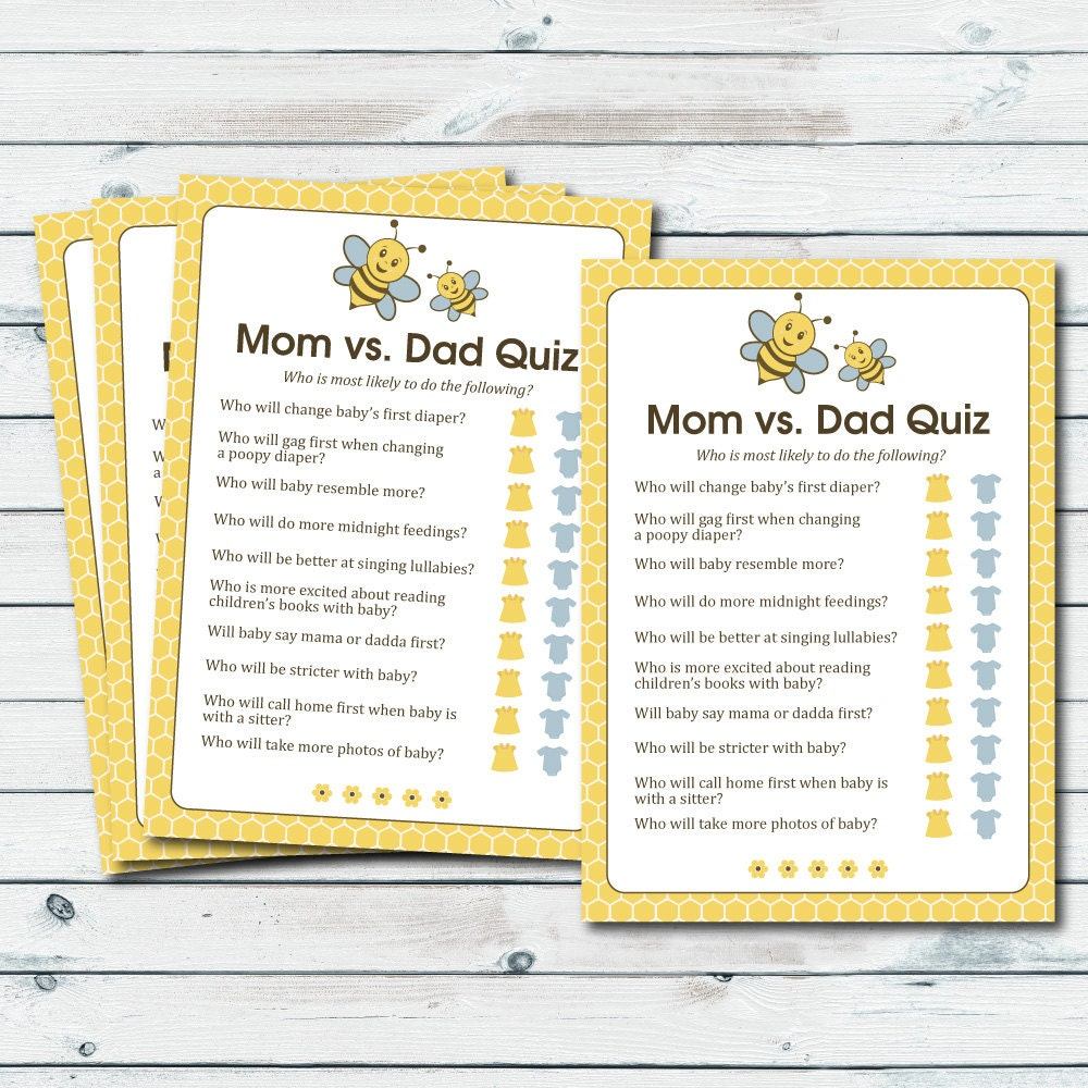 mom vs dad quiz baby shower game printable baby shower game etsy