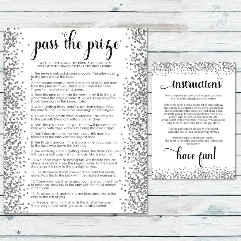 Pass The Prize Game Bridal Shower Prize Game Pass The Gift Etsy