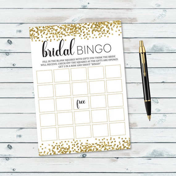 photograph about Printable Bridal Bingo called Gold Confetti Bridal Bingo Playing cards Printable, Bridal Shower Bingo, Blank Bingo Playing cards Gold Glitter, Bridal Shower Online games