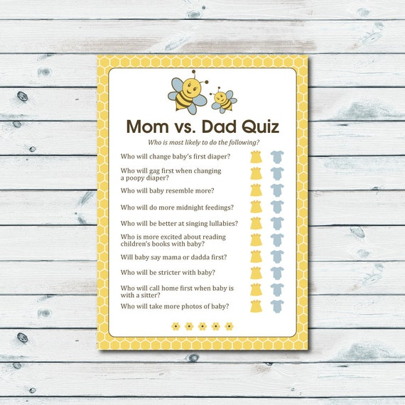 Mom Vs Dad Quiz Baby Shower Game Printable Baby Shower
