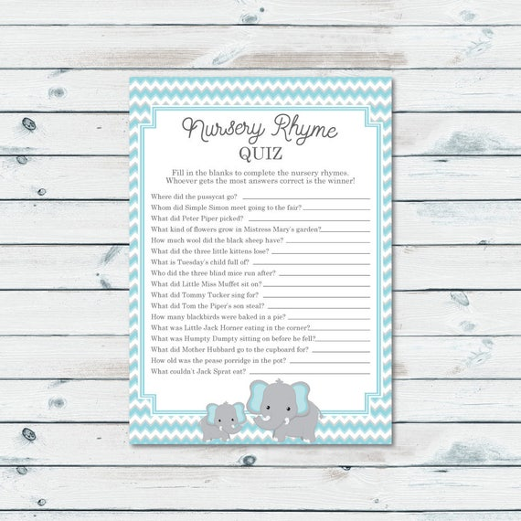 Elephant Baby Shower Nursery Rhyme Quiz Game Printable Blue Etsy