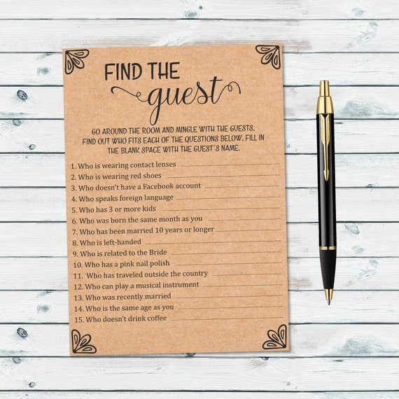 Rustic Find The Guest Bridal Game Ask The Guest Printable