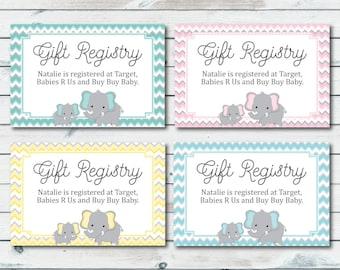 Baby Registry Cards, Registry Inserts, Baby Shower Gift Registry Inserts, Baby Shower Invitation Inserts, Elephant Baby Shower, Registry