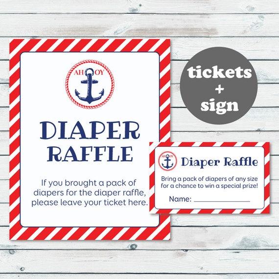 nautical diaper raffle ticket printable diaper insert ticket etsy
