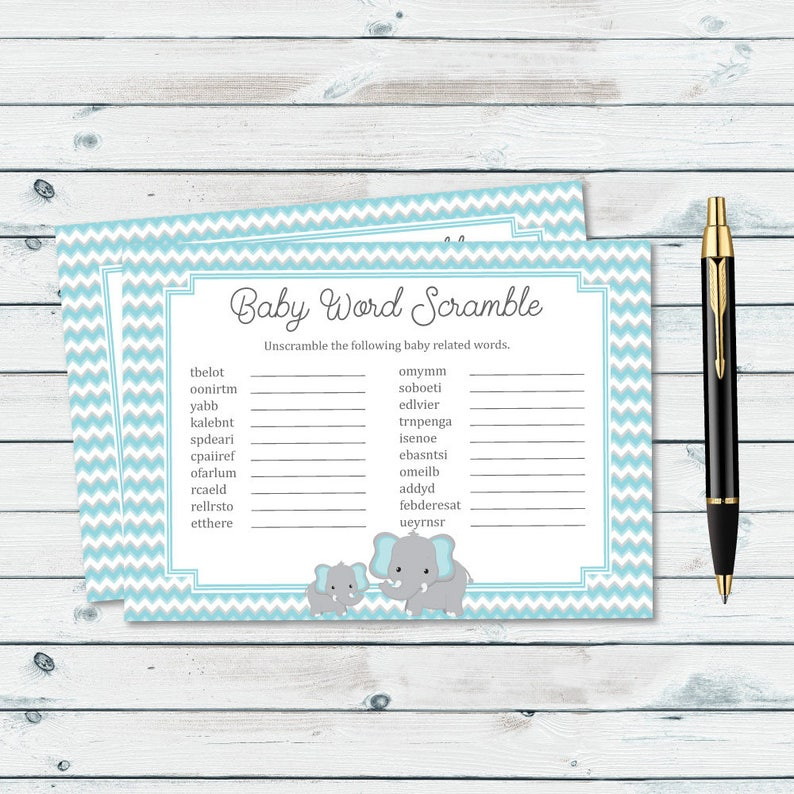 Baby Word Scramble Blue Elephant Baby Shower Printables Etsy