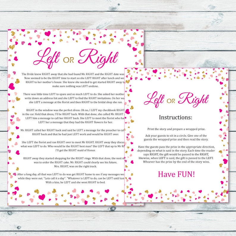 29499021d17 Left Or Right Bridal Shower Game Pass The Prize Bridal Game