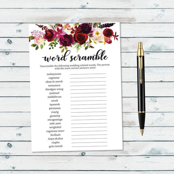 floral wedding word scramble printable bridal shower word etsy