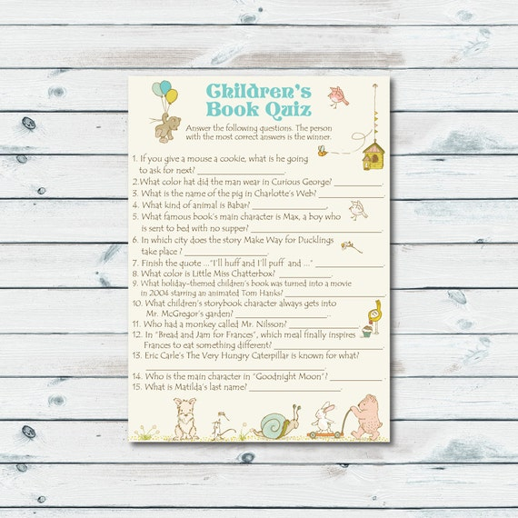 Childrens Book Quiz Printable Storybook Baby Shower Game Etsy
