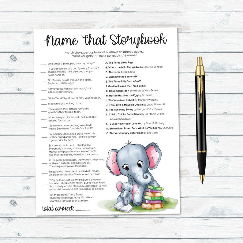 Name That Storybook, Book Theme Baby Shower, Storybook Baby Shower,  Storybook Quiz, Baby Shower Game, Name That Baby Book, Elephant Games