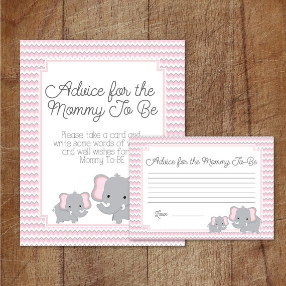 elephant baby shower advice for mommy to be cards and sign etsy