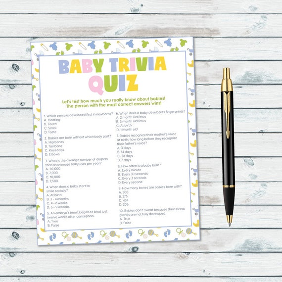 Baby Shower Trivia Game Baby Trivia Quiz Printable Neutral Etsy