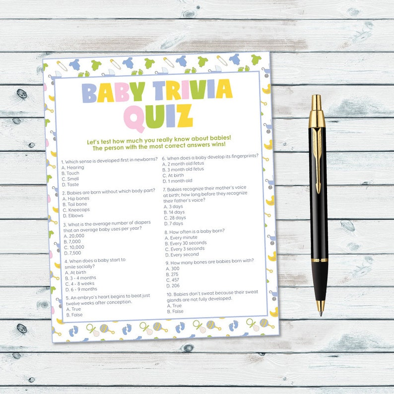 graphic relating to Printable Trivia Games named Boy or girl Shower Trivia Recreation, Youngster Trivia Quiz Printable, Impartial Gender Kid Shower Activity, Child Information and facts Quiz