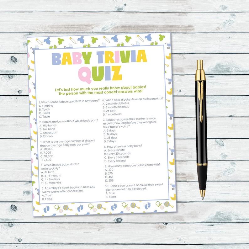 Baby Shower Trivia Game, Baby Trivia Quiz Printable, Neutral Gender Baby  Shower Game, Baby Facts Quiz