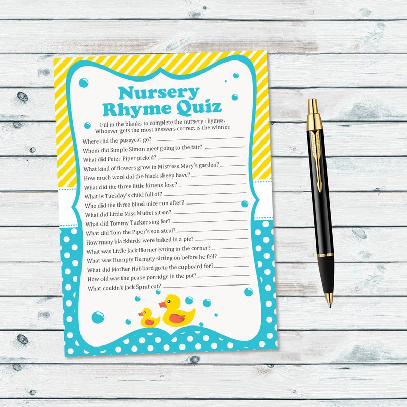 photo relating to Printable Nursery Rhymes titled Rubber Ducky Nursery Rhyme Quiz Kid Shower Activity Printable, Yellow Duck Printable Nursery Rhyme Quiz, Rubber Ducky Youngster Shower Rhyme Recreation