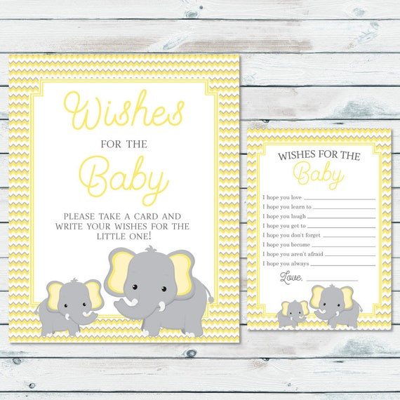 Elephant Wishes For Baby Printable Cards And Sign Elephant Etsy