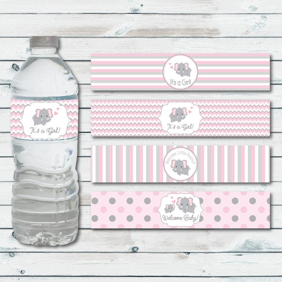 Water Bottle Labels Elephant Baby Shower Printable Water Bottle Label In Pink And Gray Chevron Elephant Elephant Baby Shower Decor