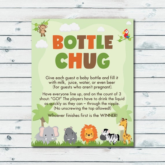Bottle Chug Game Printable Drink Up Baby Shower Game Etsy
