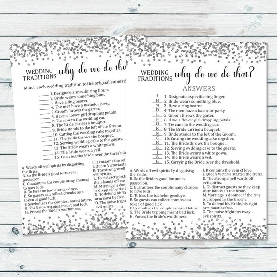 wedding traditions game why do we do that bridal shower game wedding customs wedding quiz wedding tradition shower game silver confetti