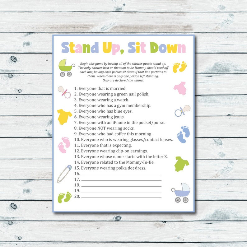 Stand Up Sit Down Baby Shower Game Printable Stand Up Sit Etsy