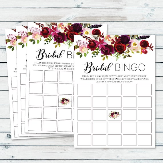 Floral Bridal Shower Blank Bingo Cards Bachelorette
