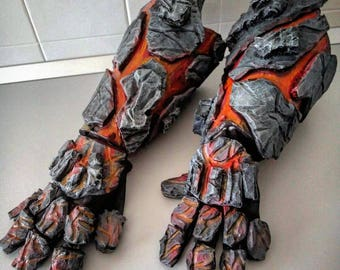 Molten rock / lava / fire cosplay Gauntlets