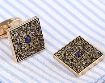 Diamond Playing Card King Gold-tone Cufflinks Money Clip Engraved Gift Set